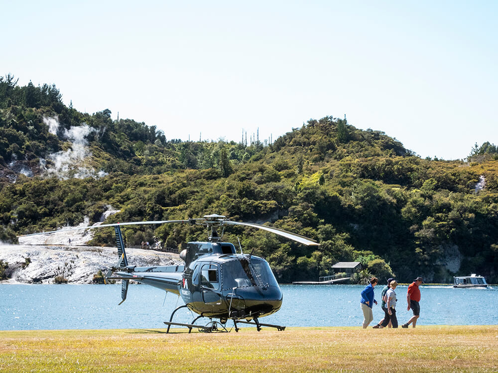 Helicopter at Orakei Korako